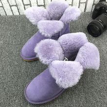 UVWP High Quality Women Fashion Snow Boots Genuine sheepskin leather Warm Natural Fur Winter Shoes real wool women ankle boots