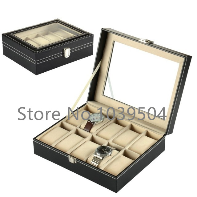 Standard 10 Grids Watch Box Black Leather Watch Display Box Top Quanlity Storage Watch Boxes Storage Jewelry Packing Box D208<br>
