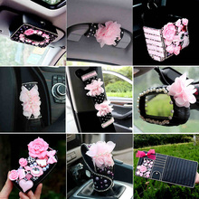 Flower car interior decoration accessories for girls Ladycrystal seat belt cover diamond leather steering wheel cover tissue box(China)