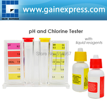 Water ph Tester Quality Pool CL2 Test Kit Chlorine HydroTools Orthotolidine Phenol Red Solutions