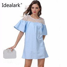 Buy New 2017 beach dress cotton Autumn summer Women Dress short flare Sleeve Casual sexy lace patched Dresses Vestidos WC0607 for $7.98 in AliExpress store