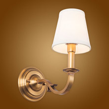 Modern Wall Lamp Full Copper Wall Sconces Fabric Lampshade Bathroom Mirror Bedside Cabinet Fixtures Home Lighting BLW010