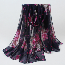 New Fashion women winter and autumn scarves flowers print voile scarf big size soft woman scarf shawl BLS009(China)