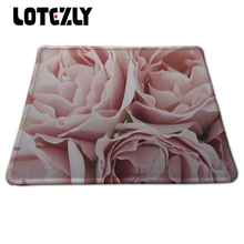 Beautiful Pink Roses Printing Lock Edge Mouse Mat Black Rubber Mousepad PC Computer Desk Accessories Mouse Pads For Gift(China)
