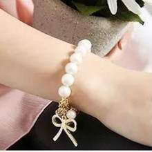 Hot new fashion jewelry imitation pearl bow stretch bracelet female factory wholesale Christmas Gifts Bracelets & Bangles