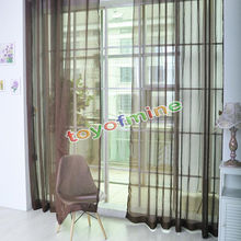 2 X Valances Tulle Voile Door Window Curtain Drape Panel Sheer Scarf Divider(China)