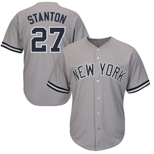 Men's New York Giancarlo Stanton Jersey Embroidery Gray White Pinstripe Navy Baseball Jersey(China)