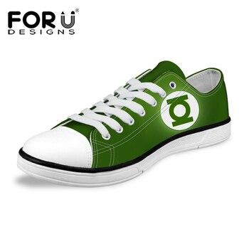 FORUDESIGNS Classic High and Low Top Zapatos de Lona Para Los Hombres moda super hero green lantern/spiderman impreso casual hombre zapatos