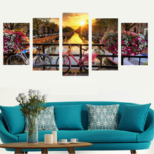 Beautiful City 5 Pieces Sunset Landscape Wall Art Canvas Prints High Definition Waterproof Canvas Art Print Poster Home Unframed(China)