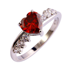 Half Price Flash Sales Exquisite Red Heart Love Cut Stone Silver Ring Size 8 Rings For Woman Wedding Gift(China)