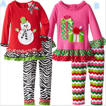 2015 New Fashion Childrens Girls Boutique Outfits Clothing Sets Christmas Santa Long Sleeve Tops+Ruffle Pants Suits