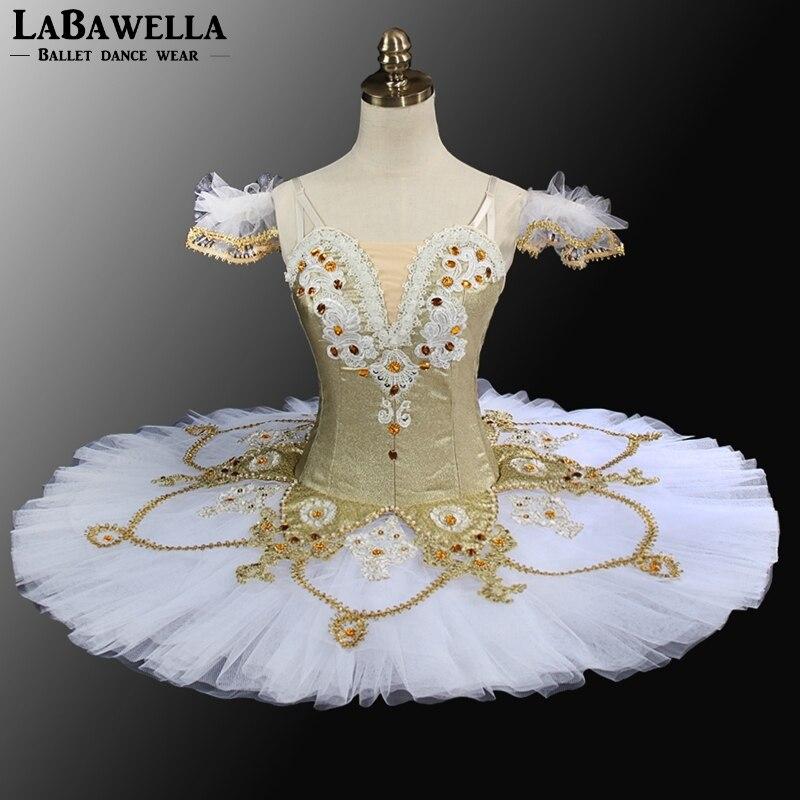 Nutcracker Pancake Ballet Tutus BT9099 Professional YAGP Gold Women White Tulle Performance Stage Costume