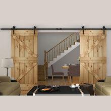 150cm/183cm/200cm/244cm/300cm/366cm/400cm DIY Heavy duty Double Sliding Barn Door modern wooden sliding barn door hardware(China)
