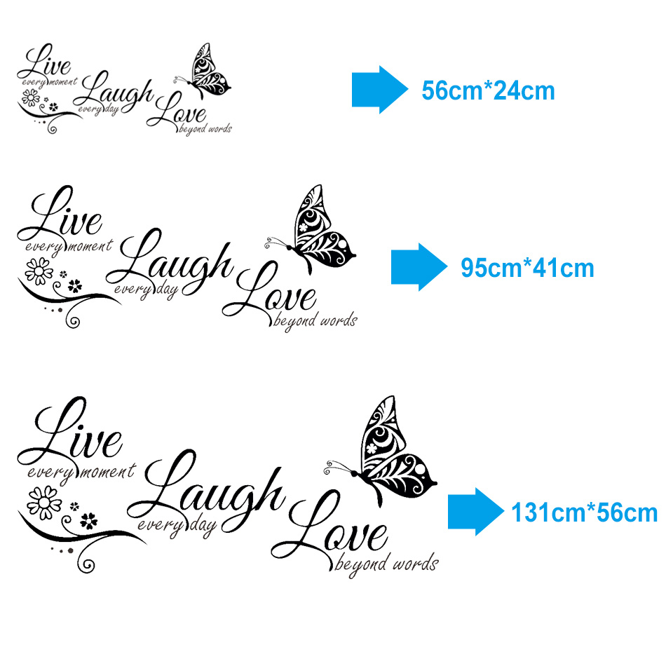 HTB1pAB9XH1YBuNjSszeq6yblFXaC - Live Laugh Love Butterfly Flower Modern Wall Decals Quotes Vinyls Stickers
