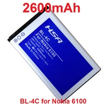 2600mAh BL-4C / BL 4C High Capacity Battery for Nokia 1365/1325/2650/2652/3108/3500C/5100/6066/6088/6101/6102/6103/6131/6125(China)