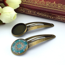 ZEROUP 18mm 10pcs Copper Hair Clips Antique Bronze Brass Plated Hairpin Cameo Glass Cabochons Base Supplies for Jewelry HC-002