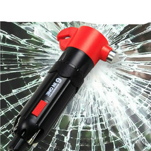 6 in 1 Car Safety Hammer LED Flashlight Multi Screwdriver Torch Window Seatbelt Cutter(China)