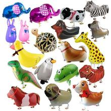 20PCS/LOT Walking Balloons Pets Hydrogen Balloons Aluminum Inflatable Animal Balloon Children Favorite Toys