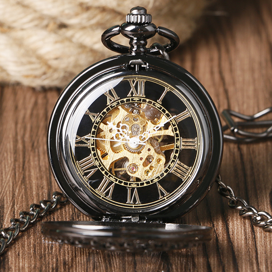 Retro Pocket Watch Black Hollow Case Mechanical Hand-Wind Watch with Necklace Unisex Steampunk Golden Skeleton Pendant Clock (8)