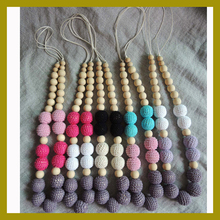 Chunky Teething necklace  assorted color crochet beads wooden Crochet  Nursing teether baby toy NW1808