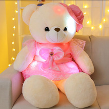 50cm Romantic Colorful flash LED light plush teddy bear Toy doll led light throw pillow Lovely cute luminous stuffed toy gifts