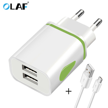 Buy OLAF US EU Plug 2 Ports LED Light USB Charger 5V 2A Wall Adapter Mobile Phone Micro Data Charging iPhone iPad Samsung cable for $1.99 in AliExpress store