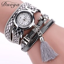 Duoya Brand Sport Watches Women 2017 New Bracelet Quartz Watch Women Silver Leather Fashion Casual Tassel Jewelry Wristwatches