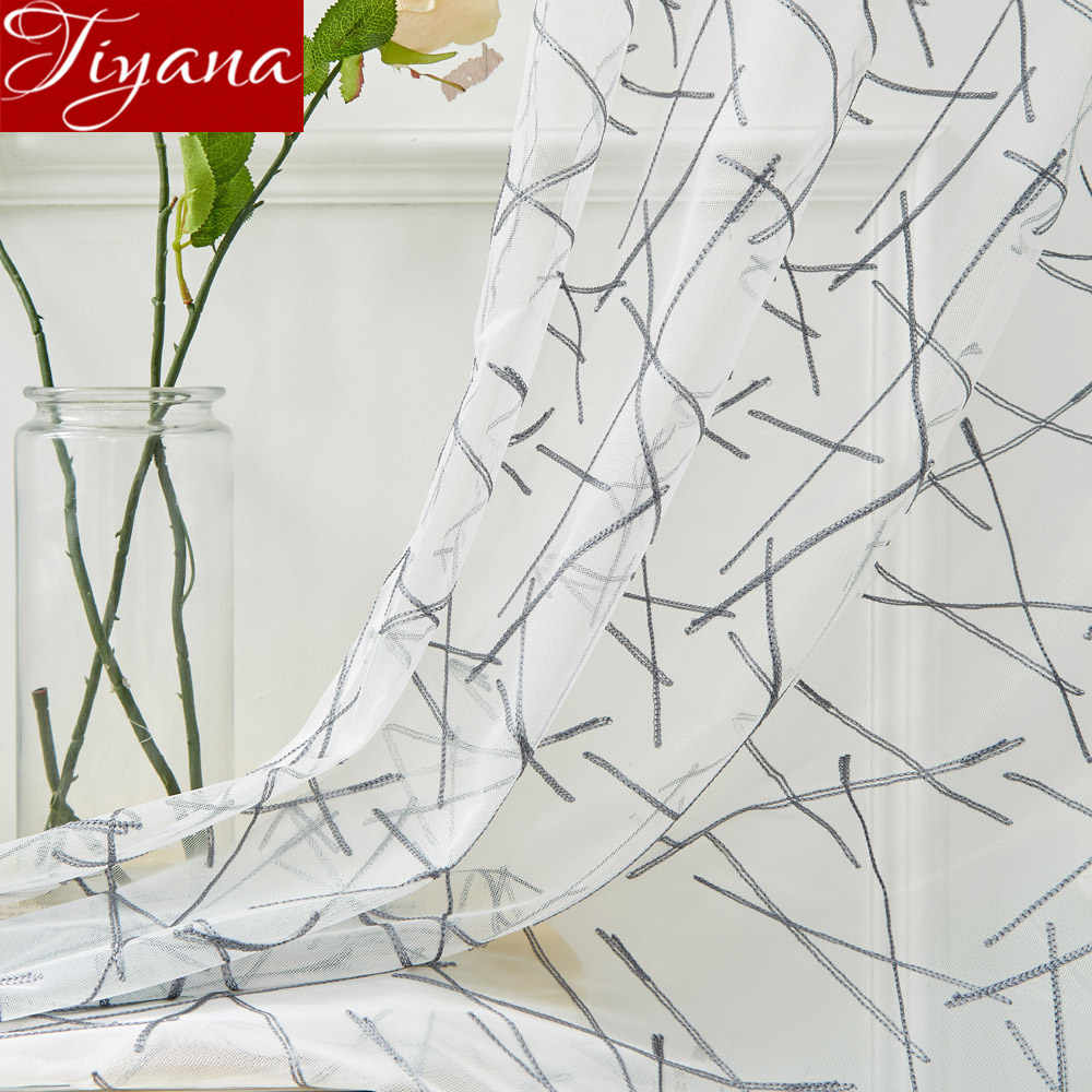 Geometric Curtain White Sheer Fabric Net Curtain for Living Room Voile Kitchen Window Treatment Drape Blinds T&305#30