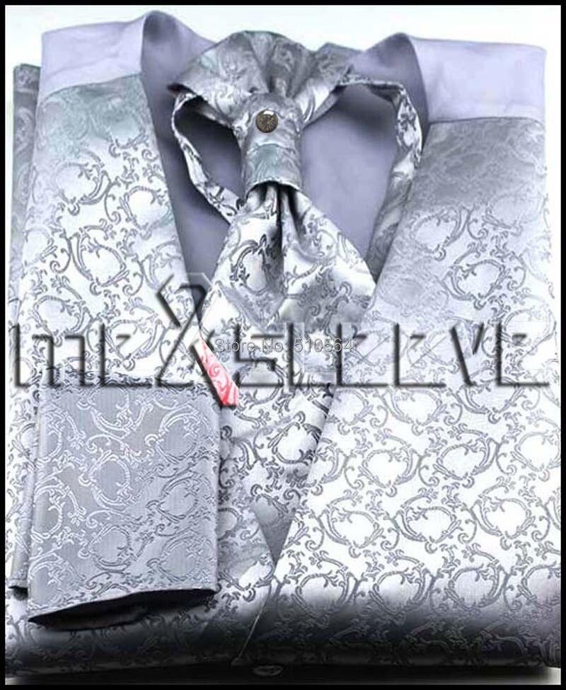 Wholesale Free shipping Single Breast Men Vest Waistcoat light Silver pattern Vest(vest+bowtie+Handkerchief+cufflinks)