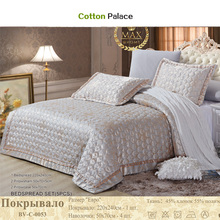 Luxury quilted Quilt thick bed Sheet+pillowcases set 5pcs embroidery bedspreads stiching Bedcover shiny jacquard coverlet