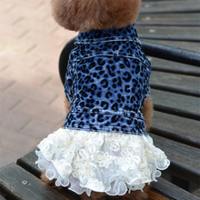 Dog Clothes Denim Skirt With Lace Leopard Print Pet Dress Spring Autumn Dog Cowboy Coat Clothing For Dogs Cat Dress Jeans(China)