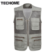 New Arrival 2016 Multi-pockets Out door Vest Men Professional Photography Cameraman Mesh Vest for Hunt Director Reporter Vests