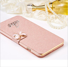 Luxury PU leather Flip Silk Cover For Meizu M2 Mini MeiLan 2 Mei lan 2 5.0'' Phone Bag Case Cover With LOVE & Rose Diamond(China)
