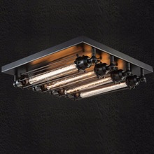 American Loft Metal Tube Living Room Ceiling Light Retro Industrial 4 Heads Metal Square Top Base Bedroom Balcony Ceiling Lamp