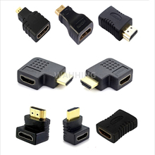 8x HDMI to Mini HDMI to Micro HDMI extension Adapter Converter Connector 90 270 degree angle for Xbox Vedio TV HDTV 1080P HY1297