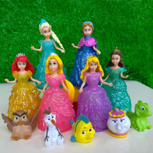 Magiclip Fashion Figures Toys Belle Rapunzel Cinderella Little Mermaid Princess Doll And They Pets For Gril Kids(China)