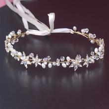 Shinny Crystal Bridal Wedding Head Piece Bride Headwear Headband Hair Band 100% Handmade Flower Women Party Jewelry Accessories