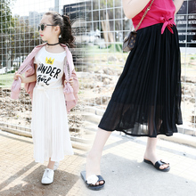 Vetement Fille Maxi Long Skirt Girl Clothes Black White Pleated Teenage Little Girls Skirts Spring Summer 2017 10 12 13 14 Years