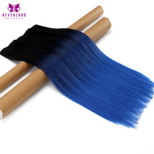 Neverland 60cm 5 Clips Straight High Temperature Fiber Women Hairpieces Black to Blue Ombre Clip-in One Piece Hair Extensions