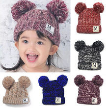 Child Baby Kids Warm Winter Knit Beanie Wool Thick Bobble Hat Crochet Ski Cap