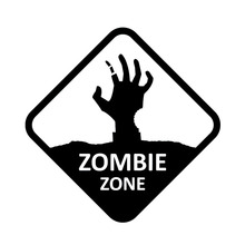 16cm*16cm Fashion ZOMBIE ZONE Walking Dead Hand Sign Black/Silver Vinyl Car Sticker Car-styling Decals S8-1131
