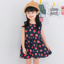 2017 New Summer Dresses Kids Child Girls Strawberry Print Sundress Outfit Soft Princess Party Dresses Girls Clothes For 3-9Y