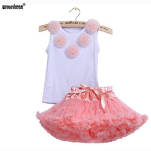 WEONEDREAM Baby Kids Clothing Girls Clothes Suit 2PC Sets Flower Decoration Vest T-shirt+Dress Sets Girls Fashion Skirt Suits