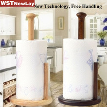 New Design Kitchen Two Colors Rubber Wood Multifunctional Space Organizer Standby Kitchen Paper Towel Roll Holder Free Punching