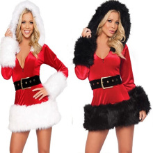 2 Color New Fashion Hot Sale Santa Claus Costumes Fantasy Sensual Women Wool dress+Hat+Belt for Women Performance On Christmas