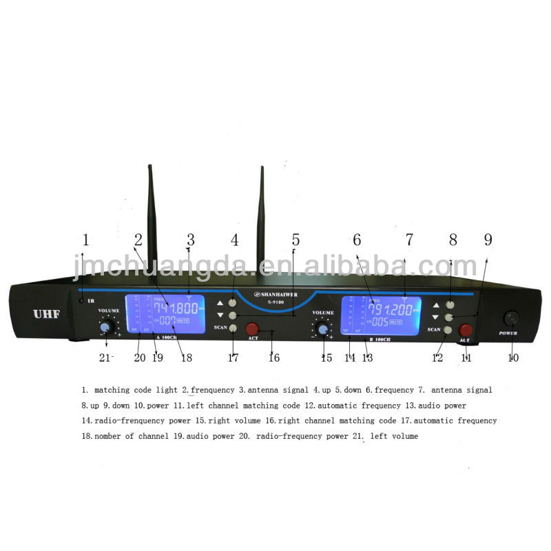 Original UHF 2*100 channel optional professional Infrared paring waist hanging wireless microphone system headset conference Mic