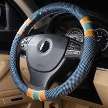 3D Car-styling winter Steering Wheel Cover cap Leather 36/38/39cm auto accessories case For BMW e46 Honda Ford Toyota VW golf 4