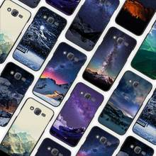 Snow Mountain Chalet Aurora Milky Way Stars Black Case Cover Shell  for Samsung Galaxy J1 J3 J2 J5 J7 Prime 2016 2017