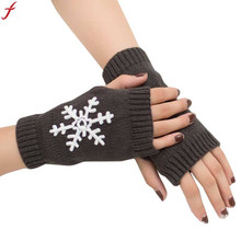2017 Autumn Winter Women Christmas Knitted Gloves Snowflake Pattern Arm Fingerless Gloves Soft Warm Mitten Female Gloves(China)