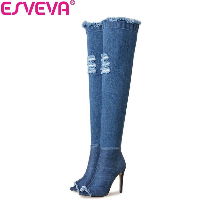 ESVEVA 2018 Women Boots Thin Heel Denim Blue(short and Long) Over Knee High Boots Sexy High Heels Autumn Ladies Boots Size 34-39<br>